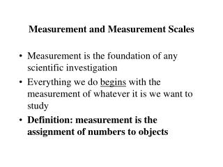 Measurement and Measurement Scales