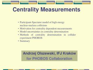 Centrality Measurements