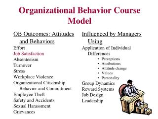 Organizational Behavior Course Model