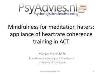Mindfulness for meditation haters: appliance of heartrate coherence training in ACT