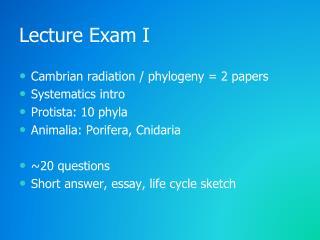 Lecture Exam I