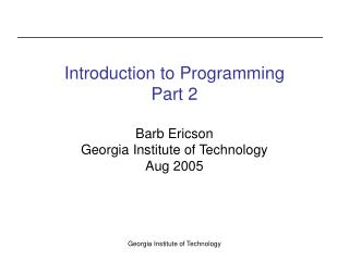 Introduction to Programming Part 2