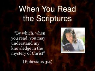 When You Read the Scriptures