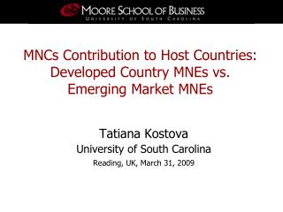 MNCs Contribution to Host Countries: Developed Country MNEs vs.  Emerging Market MNEs