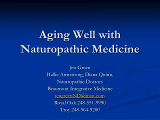 Aging Well with Naturopathic Medicine