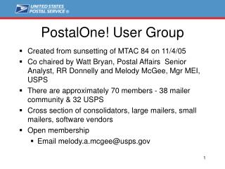 PostalOne! User Group