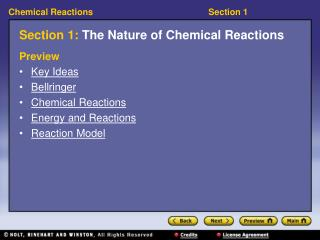 Section 1:  The Nature of Chemical Reactions