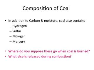 Composition of Coal