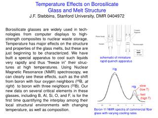Temperature Effects on Borosilicate  Glass and Melt Structure J.F. Stebbins, Stanford University, DMR 0404972