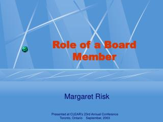 Role of a Board Member