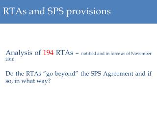RTAs and SPS provisions