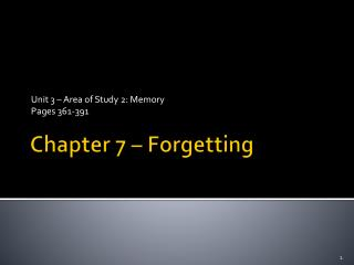 Chapter 7 – Forgetting