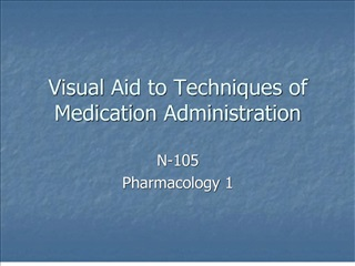visual aid to techniques of medication administration