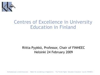 Centres of Excellence in University Education in Finland