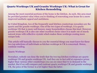 Quartz Worktops UK and Granite Worktops UK: What is Great fo