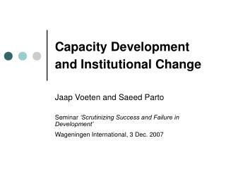 Capacity Development and Institutional Change