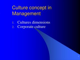 Culture concept in Management