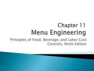 Chapter  11 Menu Engineering