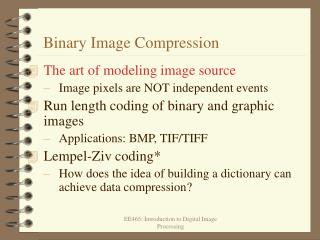 Binary Image Compression