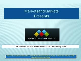 Low Emission Vehicle Market worth $103.13 Billion by 2017