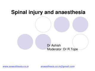 Spinal injury and anaesthesia