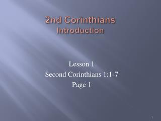 2nd Corinthians Introduction