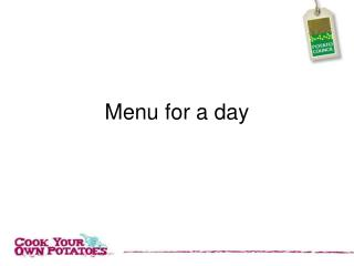 Menu for a day
