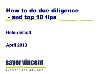 How to do due diligence  - and top 10 tips