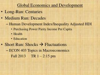 Global Economics and Development