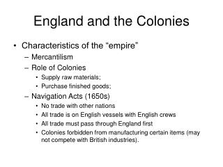 England and the Colonies