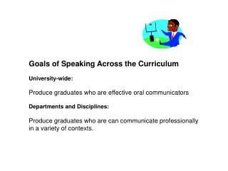 Goals of Speaking Across the Curriculum  University-wide:   Produce graduates who are effective oral communicators  Depa