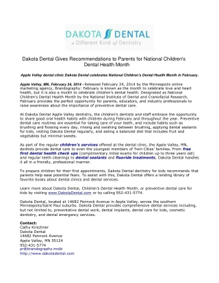 Dakota Dental Gives Recommendations to Parents for National