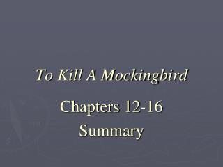 chapter 12 summary to kill a mockingbird