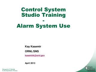 Control System Studio Training - Alarm System Use