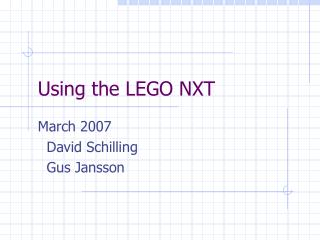 Using the LEGO NXT