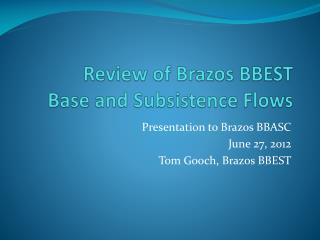 Review of Brazos BBEST Base and Subsistence Flows