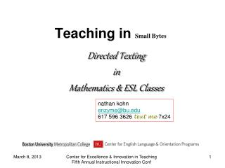 Teaching in Small Bytes