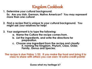 Kingdom Cookbook