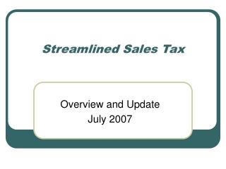 Streamlined Sales Tax