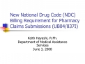 new national drug code ndc billing requirement for pharmacy claims submissions ub04