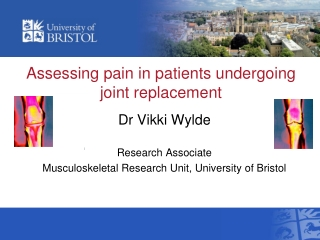 Assessing pain in patients undergoing joint replacement