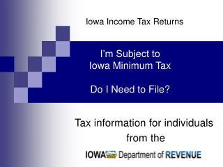 Iowa Income Tax Returns