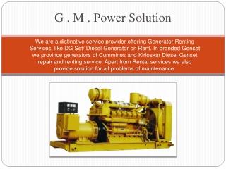 Kirloskar and Cummins High Power DG Set Rental Services Pune