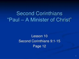 "Second Corinthians ""Paul – A Minister of Christ"""