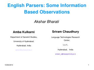 English Parsers: Some Information Based Observations