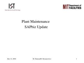 Plant Maintenance  SAPbiz Update