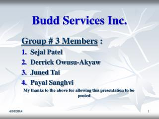 Budd Services Inc.