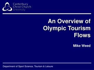 An Overview of Olympic Tourism Flows