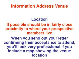 Information Address Venue
