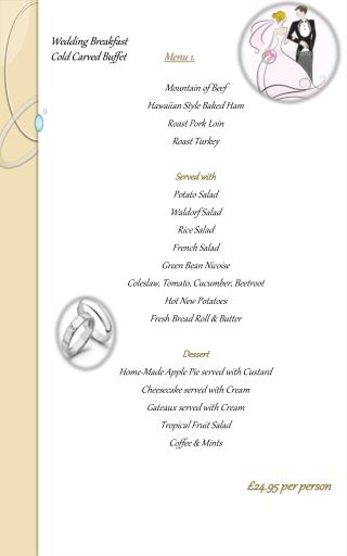Wedding Breakfast Cold Carved Buffet Menu 1.